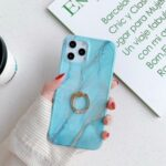Drop-proof Marble Pattern IMD TPU Phone Casing with Ring Kickstand for iPhone 11 Pro 5.8 inch – Style A