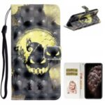 Light Spot Decor Patterned Case for iPhone 12 Pro Max Leather Cover with Stand – Ghost