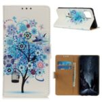 Pattern Printing PU Leather Wallet Stand Phone Shell for Samsung Galaxy A42 5G – Blue Tree with Birdcage