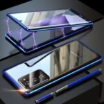 Magnetic Installation Metal Frame + Tempered Glass Alll-side Protective Cover with Lens Cover for Samsung Galaxy Note20 Ultra/Note20 Ultra 5G – Blue