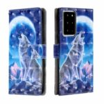Pattern Printing Light Spot Decor Leather Wallet Stand Case for Samsung Galaxy Note20 Ultra/Note20 Ultra 5G – Wolf and Moon