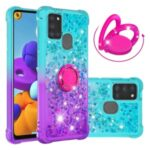 Shockproof Gradient Quicksand TPU Shell for Samsung Galaxy A21s with Kickstand Cover – Cyan / Purple