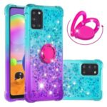 TPU Shell for Samsung Galaxy A31 Shockproof Gradient Quicksand with Kickstand Cover – Cyan / Purple
