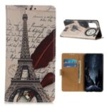 Printing Leather Stand Shell Case for Samsung Galaxy M51 (International Edition) (Side Fingerprint Hole) – Eiffel Tower and Letters