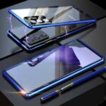 For Samsung Galaxy Note20 Ultra/Note20 Ultra 5G Magnetic Installation Metal Frame + Single Tempered Glass Protective Back Case with Lens Cover – Blue