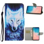 Pattern Printing Leather Supporting Stand Phone Case with Card-Carrying Slots and Cash Pocket for Samsung Galaxy A51 SM-A515 – Wolf