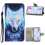 Pattern Printing Leather Wallet Stylish Stand Case with Handy Strap for Samsung Galaxy A31 – Wolf