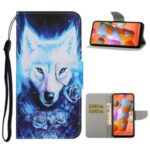 Pattern Printing Leather Wallet Stylish Stand Case with Handy Strap for Samsung Galaxy A11/M11 – Wolf