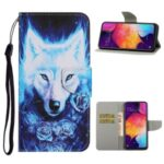 Pattern Printing Leather Wallet Stylish Stand Case with Handy Strap for Samsung Galaxy A41 (Global Version) – Wolf