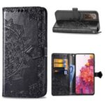 Embossed Mandala Flower Wallet Leather Shell for Samsung Galaxy S20 FE/S20 Fan Edition/S20 FE 5G/S20 Fan Edition 5G/S20 Lite – Black