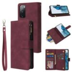 With Many Card Slots Leather Wallet Case for Samsung Galaxy S20 FE/S20 Fan Edition/S20 FE 5G/S20 Fan Edition 5G – Red