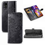 Embossed Mandala Flower Wallet Leather Cover for Samsung Galaxy M31s – Black