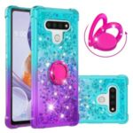 Kickstand Quicksand TPU Case for LG Stylo 6 Protector Gradient Shockproof Shell – Cyan / Purple