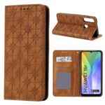 Auto-absorbed Imprint Flower Pattern Cover with Card Slots for Huawei Y6p – Brown