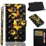 Light Spot Decor Patterned Leather Wallet Shell for Motorola Moto G 5G Plus – Gold Butterfly