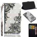 Light Spot Decor Patterned Leather Wallet Case Cover for Motorola One Hyper – Black Flower