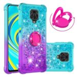 Kickstand Gradient Quicksand TPU Case for Xiaomi Redmi Note 9S/Note 9 Pro Protector Shockproof Shell – Cyan / Purple