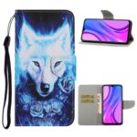 Pattern Printing Leather Wallet Stylish Stand Case with Handy Strap for Xiaomi Redmi 9C – Wolf