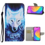 Pattern Printing Leather Wallet Stylish Stand Case with Handy Strap for Xiaomi Redmi 9 – Wolf