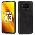 Crazy Horse Texture PU Leather Coated TPU Shell for Xiaomi Poco X3 NFC/Poco X3 Case – Black