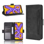 Leather Wallet Phone Cover Shell with Multiple Card-Carrying Slots for Vivo Y20 2020/Y20i – Black