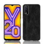 PU Leather Coated PC + TPU Combo Mobile Phone Shell for vivo Y20i/vivo Y20 – Black