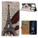 Printing Leather Stand Shell Case for OnePlus 8T Stylish Cover – Eiffel Tower and Letters