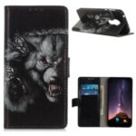 Pattern Printing Leather Wallet Case for Nokia 3.4 – Wolf Pattern