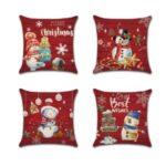4Pcs 45 x 45cm Red Merry Christmas Pillowcase Linen Snowman Pillow Cover