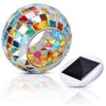 Solar Power LED Mosaic Glass Ball Color Changing Light Garden Lawn Decor Lamp
